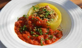 Pancetta and Mushroom Stuffed Marrow with Spicy Tomato Sauce