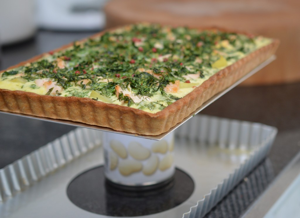 Salmon and Watercress Quiche with Pink Peppercorns