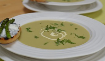 Asparagus Soup with a Goats' Cheese and Asparagus Giant Crouton
