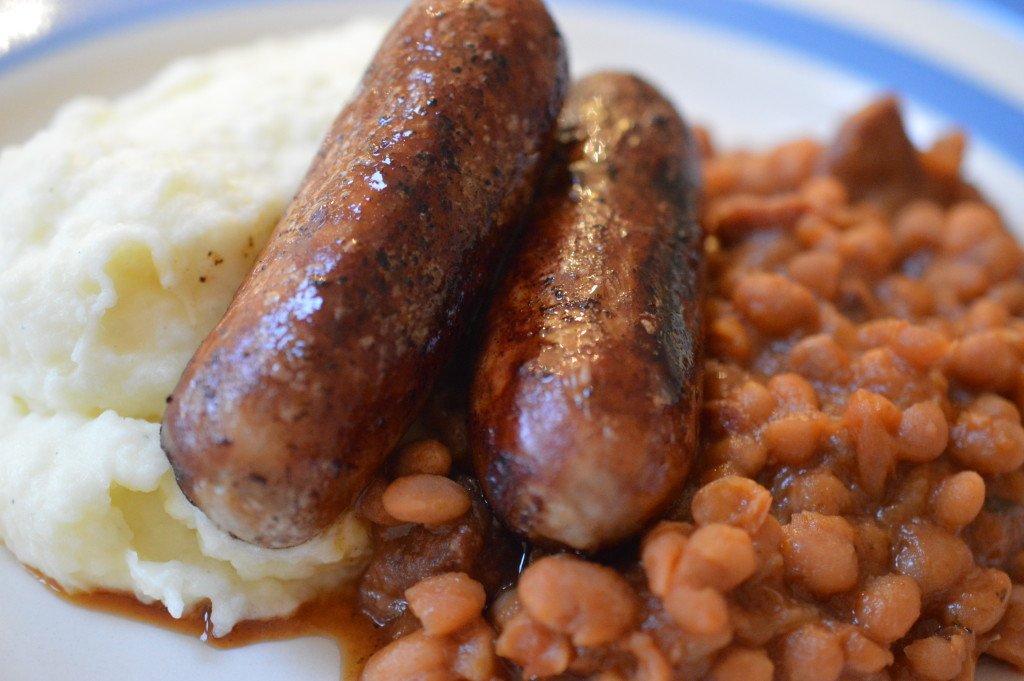Beans, bangers and mash